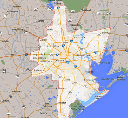 Concrete Repain And Leveling Houston Service Area Map